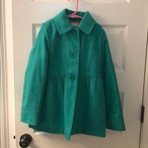 Girls 7/8 pea coat green